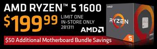 AMD Ryzen 5 1600 - $199.99
