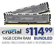 Crucial 16GB DDR4 RAM $114.99 bundled