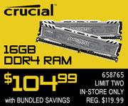 Crucial 16GB DDR4 RAM - $104.99 bundled
