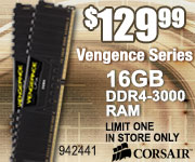 Corsair 16GB DDR4-3000 RAM $129.99