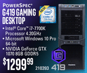 PowerSpec G419 Gaming Desktop - $1299.99