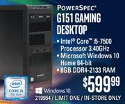 PowerSpec G151 Gaming Desktop - $599.99