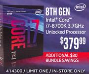 8th Gen Intel Core i7-8700K 3.7GHz Unlocked Processor - $379.99