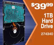 1TB Hard Drive $39.99