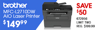 Brother MFC-L2710DW AIO Laser Printer - $149.99, Save $50; REG. $199.99, LIMIT TWO, SKU 672956