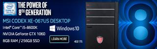 MSI Codex XE-067US Gaming Laptop Intel Core i5-8600K NVIDIA GTX 1060 8GB DDR4 256GB SSD Windows 10 $899.99