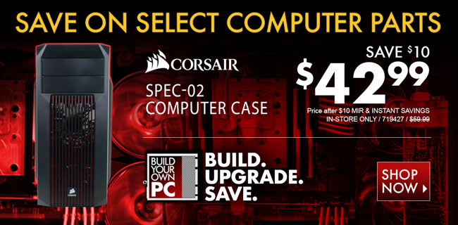 Corsair SPEC-02 Computer Case - $42.99 after Instant Savings and MIR. In-Store Only. SKU 719427. Save on select computer parts. Build. Upgrade. Save. Shop Now
