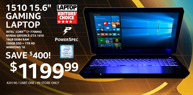PowerSpec 1510 15.6 inch Gaming Laptop - $1199.99
