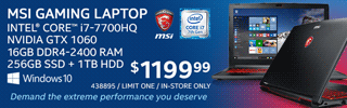 MSI Gaming Laptop - $1199.99