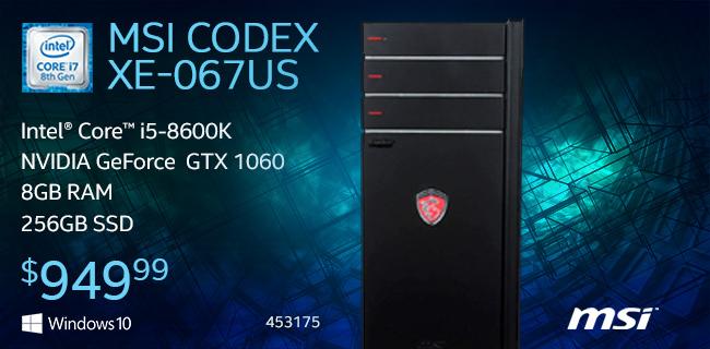 MSI Codex XE-067US Desktop Computer Intel Core i5-8600K Processor NVIDIA GeForce GTX 1060 6GB GDDR5 8GB DDR4-2400 RAM 256GB Solid State Drive $949.99 sku 453175