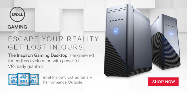 Dell Gaming - Escape Your Reality. Get Lost in Ours. The Inspiron Gaming Desktop is engineered for endless exploration with powerful VR-ready graphics. SHOP NOW - $1099.99; Intel Core i7-8700, Nvidia GTX 1060, 16GB DDR4-2666, 256GB SSD plus 1TB HD, Windows 10; Limit one, in-store only, 784447; Revolutionize Your Gaming Experience