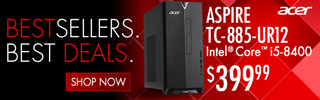 BESTSELLERS. BEST DEALS; Acer Aspire TC-885-UR12 Desktop - $399.99; Intel Core i5 8400; SHOP ALL
