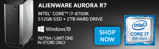 Alienware Aurora R7: Intel Core i7-8700K; 512GB SSD + 2TB HD; Windows 10 - SHOP NOW; SKU 7677764, Limit One, In-Store Only