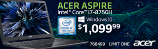 Acer Aspire Intel Core i7 8750H Windows 10 $1,099.99 Sku 768499 Limit one