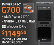PowerSpec G700 Gaming Desktop - $1149.99