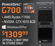 PowerSpec G700 Gaming Desktop - $1309.99