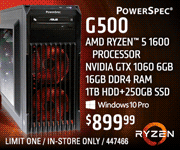 PowerSpec G500 Desktop - $899.99; AMD Ryzen 5 1600 Processor, NVIDIA GTX 1060 6GB, 16GB DDR4 RAM, 1TB Hard Drive plus 250GB SSD, Windows 10 Pro; Limit one, in-store only, SKU 447466
