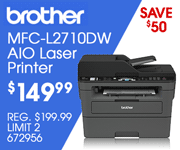 Brother MFC-L2710DW AIO Laser Printer - $149.99; Save $50, REG. $199.99, LIMIT TWO, SKU 672956