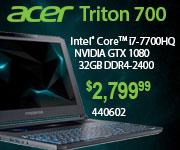 Acer Predator Triton 700 Intel Core i7 7700HQ NVIDIA GTX 1080 32GB DDR$ 2400 $2799.99