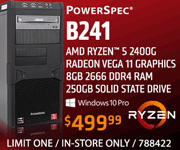 PowerSpec B241 Desktop - $499.99; AMD Ryzen 5 2400G, Radeon Veta 11 Graphics, 8GB DDR4 RAM, 250GB SSD, Windows 10 Pro; Limit one, in-store only, SKU 788422