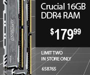 Crucial 16GB DDR4 RAM $179.99