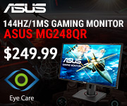 ASUS 144HZ/1MS Gaming Monitor. MG248QR - $249.99