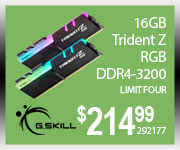 G. Skill 16GB Trident Z RGB DDR4-3200 $214.99 Limit four