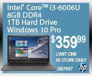 Intel Core i3-6006U 8GB DDR4 1TB Hard Drive Windows 10 Pro $359.99 Limit one. In store only.