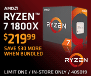 AMD Ryzen 7 1800X processor - $219.99, Save $30 more when bundled; limit one, in-store only, SKU 405019