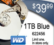 WD Blue 1TB Hard Drive $39.99 Sku 622456 Limit one. In store only.