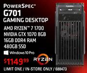 PowerSpec G701 Gaming Desktop - $1149.99; AMD Ryzen 7 1700 processor, Nvidia GTX 1070 8GB, 16GB DDR4 RAM, 480GB SSD, Windows 10 Pro; Limit one, in-store only, SKU 688473