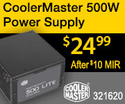 CoolerMaster 500W Power Supply $24.99 after $10 MIR, Sku 321620
