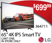LG 65 inch 4K IPS Smart TV $699.99