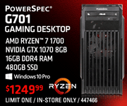 PowerSpec G701 Gaming Desktop - AMD Ryzen 7 1700, Nvidia GTX 1070 8GB, 16GB DDR4 RAM, 480GB SSD, Windows 10 Pro - $1249.99; Limit one, in-store only, SKU 688473