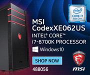 MSI CodexXE062US Desktop; Intel Core i7-8700K Processor, Windows 10; SKU 488056; SHOP NOW