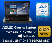 ASUS Gaming Laptop - Intel Core i7-7700HQ; Windows 10 - SHOP NOW. Limit One, In-Store Only. SKU 243733