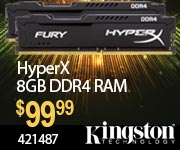 Kingston HyperX 8GB DDR4 RAM $99.99 Sku 421487