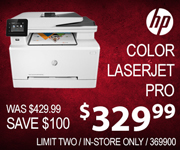 HP Color Laser Jet Pro $329.99 Was $429.99 Save $100! Sku 369900 Limit Two In Store Only