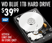 WD Blue 1TB Hard Drive - $39.99; SKU 622456, Limit one, in-store only
