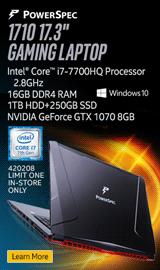 """PowerSpec 1710 17.3"""" Gaming Laptop"""