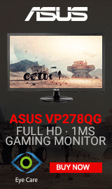 "ASUS VP278QG 27"" Full HD 75Hz VGA HDMI DP FreeSync Gaming LED Monitor"