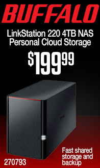 BUFFALO LinkStation 220 4 TB (2 x 2TB) NAS Personal Cloud Storage and Media Server