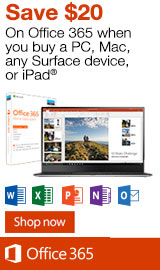 Microsoft Office. Save $20 when purchased with qualifying PC.