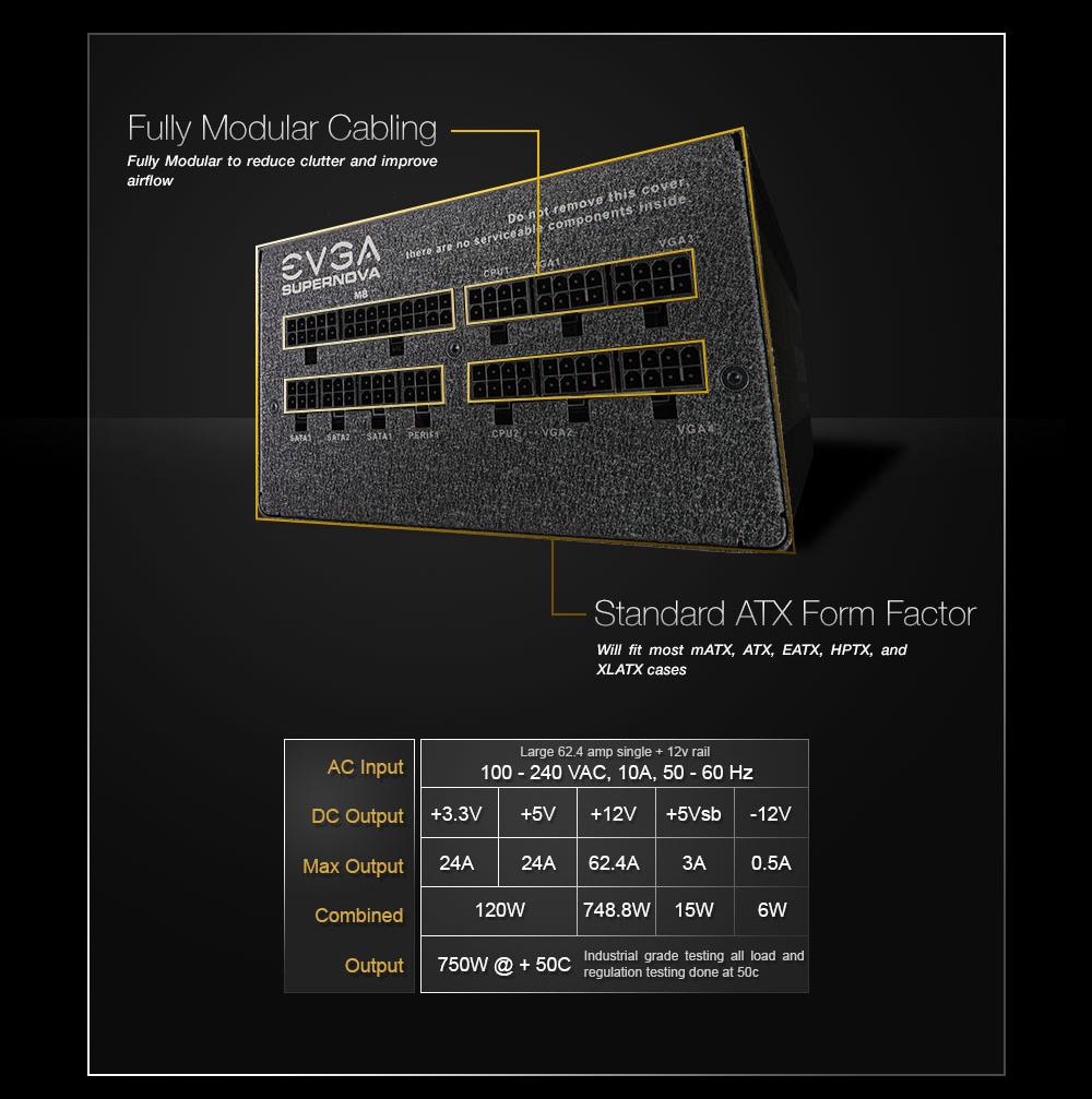 EVGA 750 G2 XR Form Factor Image