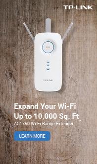 Expand you Wi-Fi up to 10,000 sq. ft. TP-LINK AC1750 Wi-Fi Range Extender
