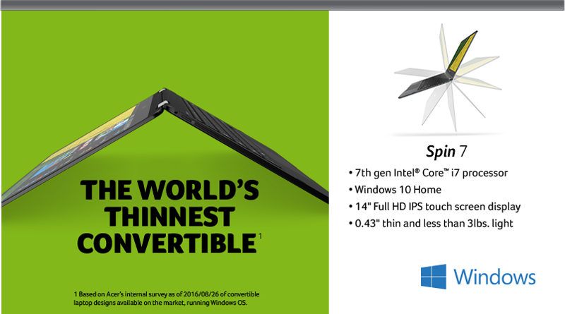 Acer Spin 7 - The World's Thinnest Convertible