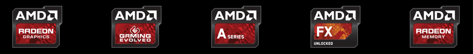 AMD Radeon Graphics, Gaming Evolved, A Series, FX Series and Radeon Memory badges
